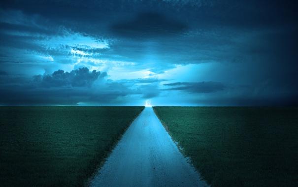 Фото обои дорога, трава, облака, обои, пейзажи, красота