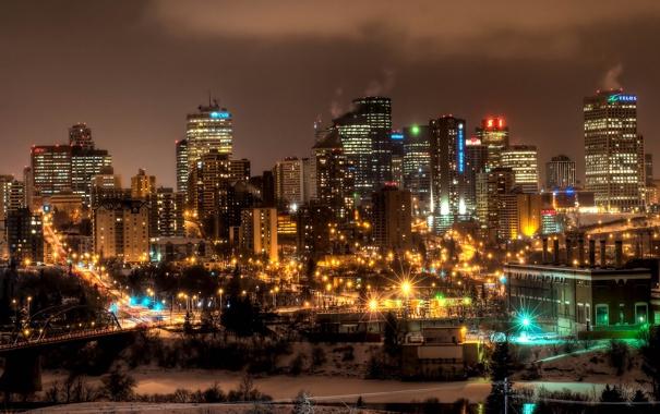 Фото обои ночь, огни, Канада, небоскрёбы, провинция Альберта, Edmonton, Э́дмонтон