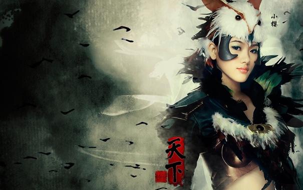 Фото обои девушка, перья, иероглифы, азиатка, риунок