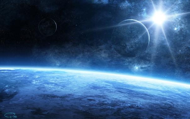 Фото обои космос, звезды, звезда, планета, арт, спутники, QAuZ
