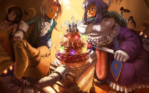 Фото обои праздник, свечи, аниме, торт