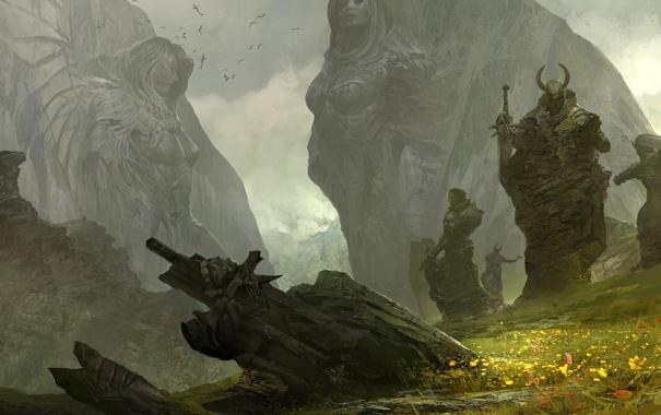 Фото обои трава, горы, воины, Guild Wars 2, статуи