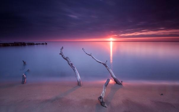Фото обои пляж, небо, океан, рассвет, горизонт