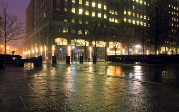 Фото обои ночь, город, NewYork City
