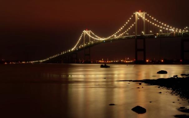 Фото обои ночь, мост, город, отражение, река