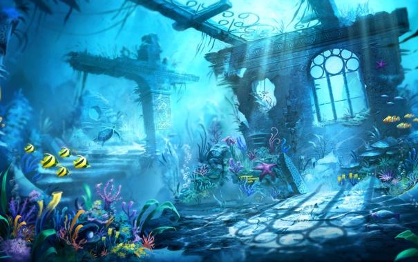 Фото обои рыбки, черепаха, руины, подводный мир, под водой, Trine 2