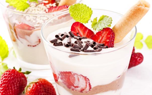 Фото обои ягоды, шоколад, клубника, мята, крем, десерт, сладкое