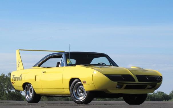 Фото обои желтый, автомобиль, мускул кар, Plymouth, плимут, Superbird, Road Runner