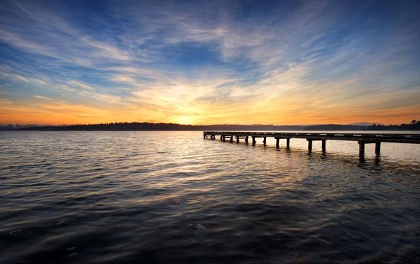 Фото обои закат, озеро, доски, причал, пирс
