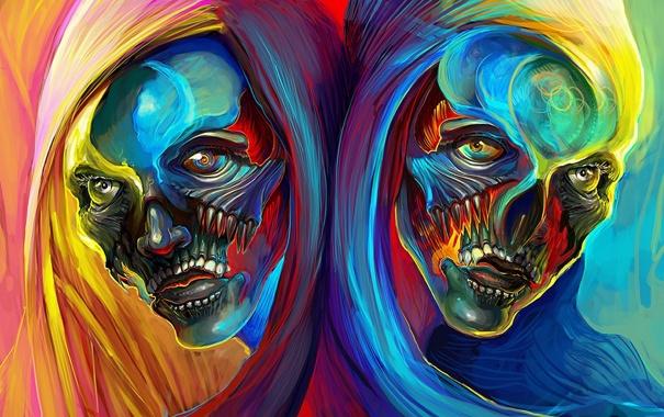 Фото обои colors, style, effects, heads