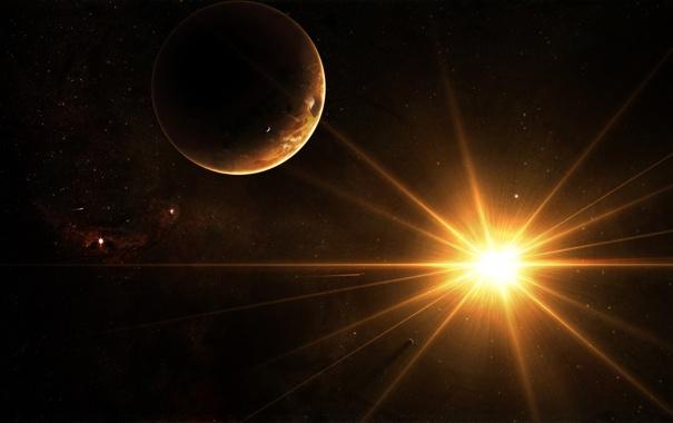 Фото обои солнце, лучи, звезда, планеты