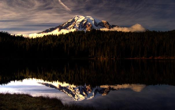 Фото обои лес, небо, озеро, гора