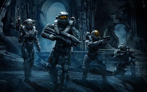 Фото обои команда, спартанцы, Halo 5: Guardians, мастер Чиф