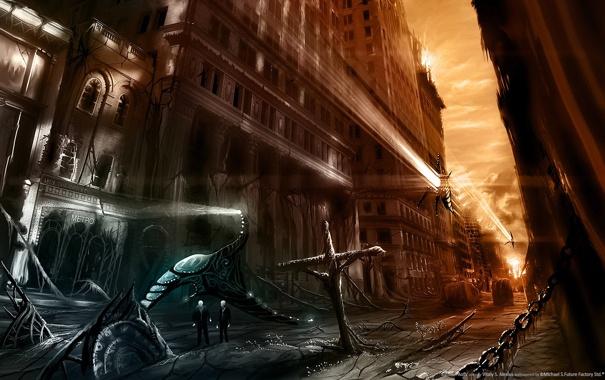 Фото обои улица, апокалипсис, разрушения