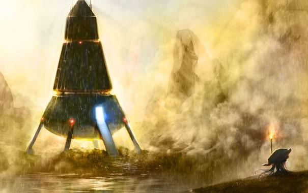 Фото обои свет, туман, дождь, скалы, факел, водоем, Космический корабль