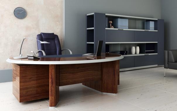 Фото обои стол, часы, кресло, кабинет