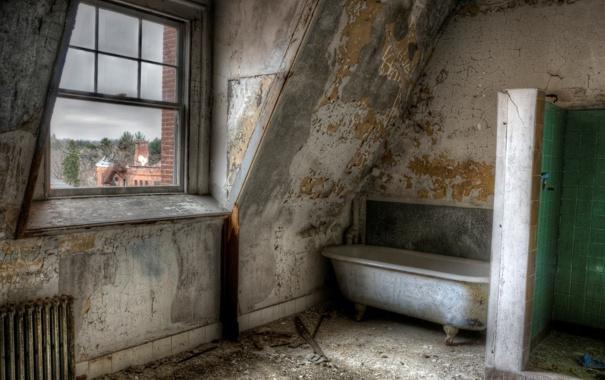 Фото обои комната, окно, ванна