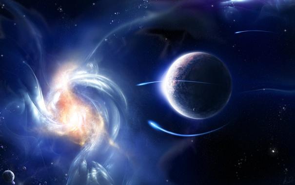 Фото обои блики, планета, свечение, звёзды, аномалия