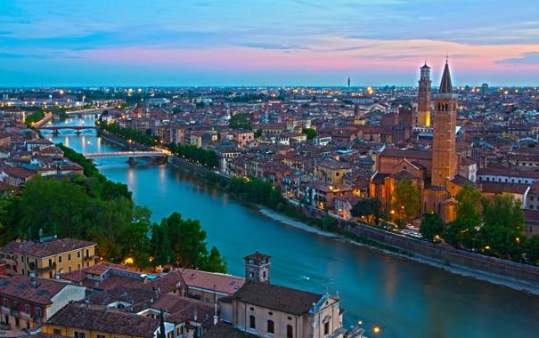Фото обои город, река, фото, горизонт, Италия, сверху, мегаполис