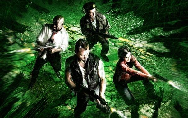 Фото обои игра, зомби, Left 4 Dead, окружены