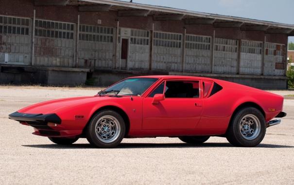 Фото обои спорткар, красная, классика, 1974, De Tomaso, Pantera, оригинал