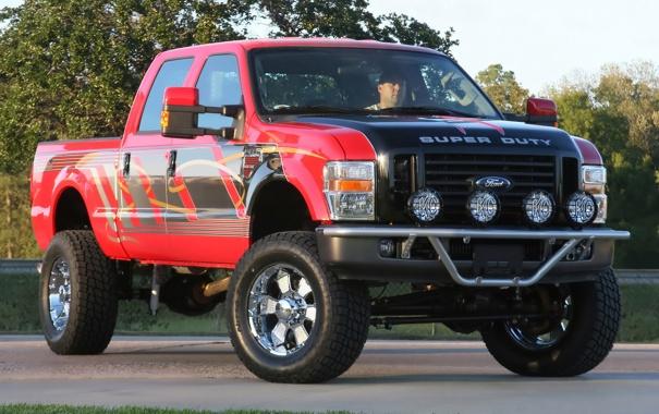 Фото обои красный, Ford, red, форд, пикап, Super, Duty