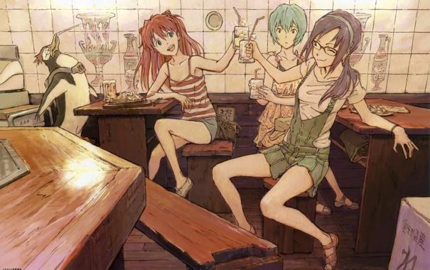 Фото обои напитки, евангелион, evangelion, ayanami rei, Asuka Langley Soryu, Рей Аянами, Аска Лэнгли Сорью
