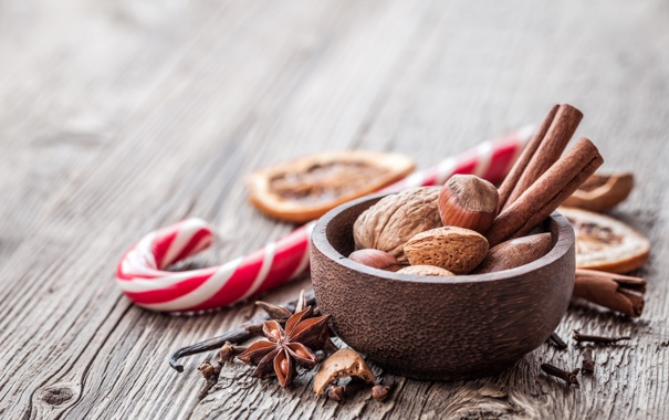 Фото обои дерево, Новый Год, Рождество, орехи, корица, Christmas, New Year