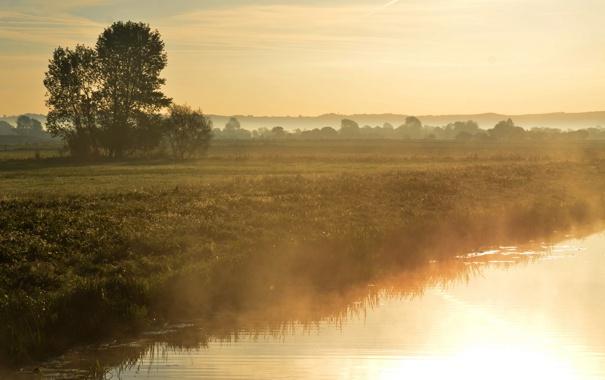 Фото обои закат, пейзаж, река, туман, природа, свет