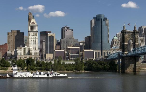 Фото обои мост, город, здания, небоскребы, США, Цинциннати, судно