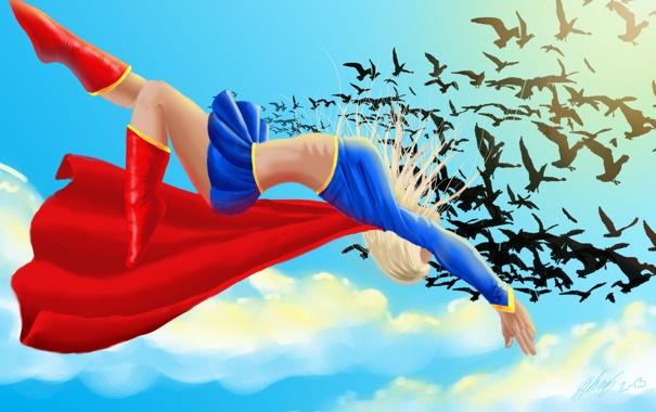 Фото обои небо, полет, птицы, арт, костюм, плащ, DC Comics