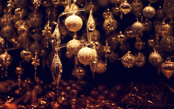 Фото обои зима, шарики, игрушки, Новый Год, Рождество, Christmas, золотые