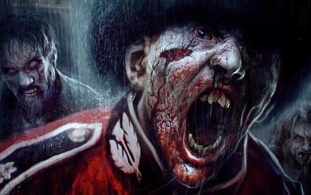 Фото обои zombie, blood, dead, background, people, survivor, ubisoft
