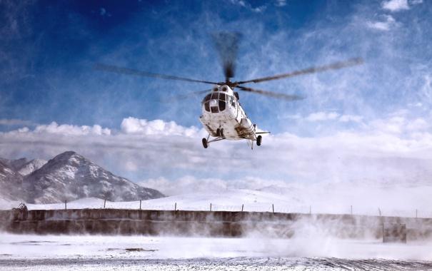Фото обои Облака, Белый, Вертолет, День, Авиация, Многоцелевой, Посадка