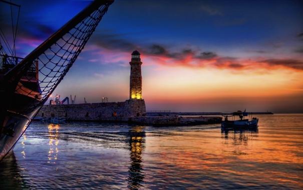 Фото обои море, маяк, лодки, вечер, пирс
