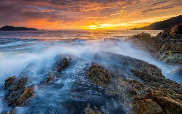 Фото обои море, закат, скалы, вечер, Таиланд