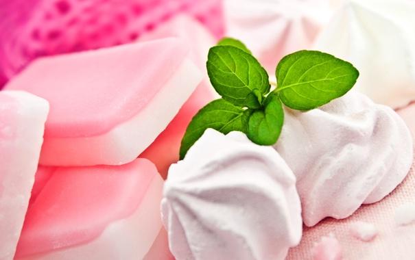 Фото обои сладости, листочки, мята, десерт, сладкое, меренги, безе