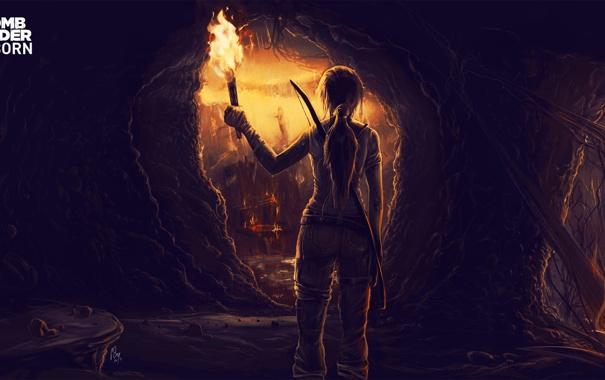 Фото обои девушка, факел, Tomb Raider, пещера, лара крофт