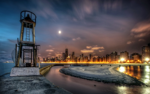Фото обои небо, ночь, город, фото, HDR, Чикаго, США