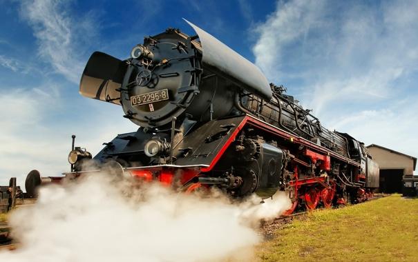Фото обои дым, паровоз, железная дорога