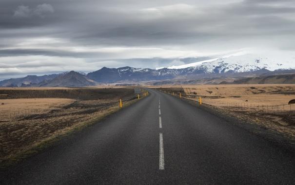 Фото обои дорога, небо, пейзаж