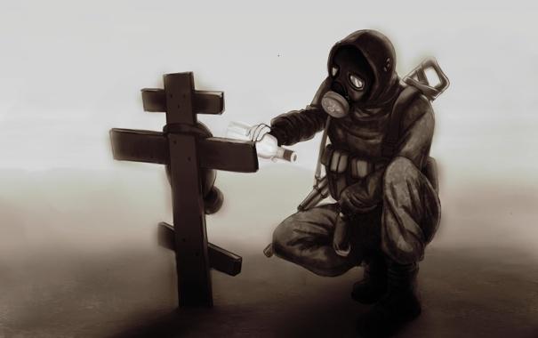 Фото обои soldier, fog, darkness, machine gun, Tomb