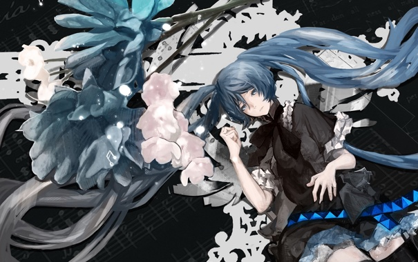 Фото обои девушка, цветы, ноты, арт, vocaloid, hatsune miku, luminous darkness