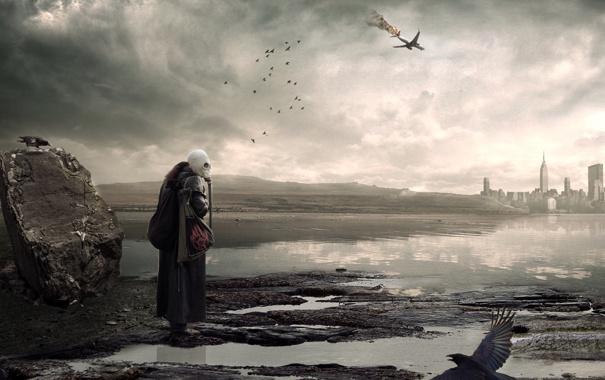 Фото обои птицы, город, самолет, апокалипсис, болото, мужик, пустош
