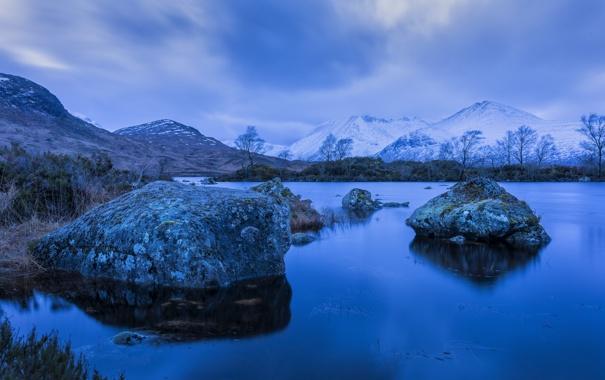 Фото обои камни, деревья, горы, снег, небо, озеро, тучи