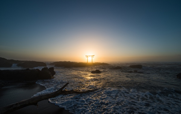 Фото обои пейзаж, берег, небо, камни, вода