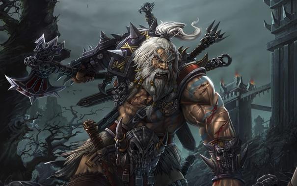Фото обои деревья, оружие, замок, волосы, меч, доспехи, арт
