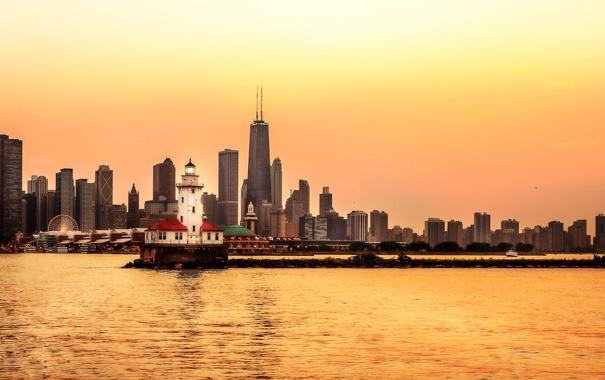 Фото обои city, небоскребы, Чикаго, USA, Chicago, мегаполис, illinois