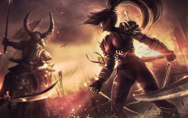 Фото обои девушка, меч, бой, кинжал, битва, схватка, samurai