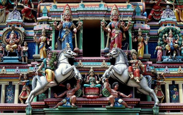 Фото обои Малайзия, Kuala Lumpur, Malaysia, Куала-Лумпур, Храм Шри Махамариамман, Sri Mahamariamman Temple